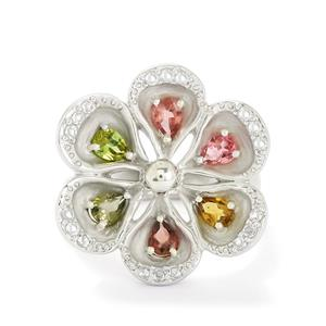 Rainbow Tourmaline & White Topaz Sterling Silver Ring ATGW 1.29cts