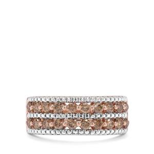 3/4ct Cognac Diamond Two Tone Sterling Silver Ring