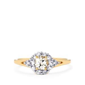 0.75ct Ceylon White Sapphire 9K Gold Ring