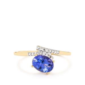 AA Tanzanite & Diamond 10K Gold Ring ATGW 1.10cts