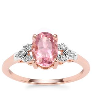 Congo Pink Tourmaline Ring with Diamond in 9K Rose Gold 1.31cts