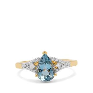 Nigerian Aquamarine Ring with Diamond in 18K Gold 1.30cts