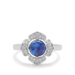 Rose Cut Sapphire Ring with White Zircon in Sterling Silver 2.09cts