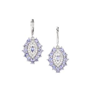 Tanzanite Earrings with White Zircon in Sterling Silver 4.98cts