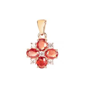 Winza Ruby Pendant with White Zircon in 9K Gold 1.49cts