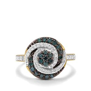 3/4ct Blue & White Diamond 9K Gold Tomas Rae Ring