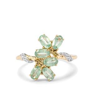 Odisha Kyanite & White Zircon 9K Gold Ring ATGW 1.89cts