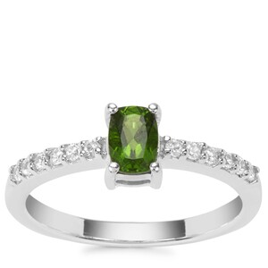 Chrome Diopside Ring with White Zircon in Sterling Silver 0.76ct