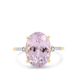 Minas Gerais Kunzite & Diamond 9K Gold Ring ATGW 7.35cts