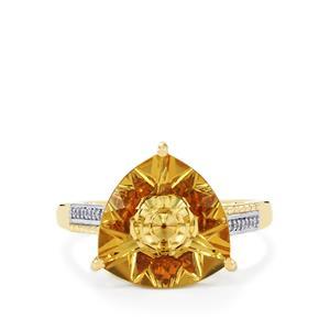Lehrer KaleidosCut Champagne Quartz, Cognac Zircon & Diamond 10K Gold Ring ATGW 4.61cts