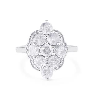 Diamond Ring in Sterling Silver 2.20ct
