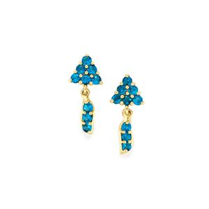 1.09ct Brazilian Neon Apatite 10K Gold Earrings