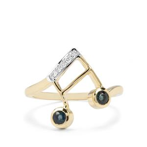 Natural Nigerian Blue Sapphire & Diamond 9K Gold Musical Note Ring ATGW 0.36cts