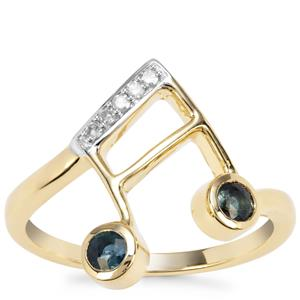 Natural Nigerian Blue Sapphire Musical Note Ring with Diamond in 9K Gold 0.36ct