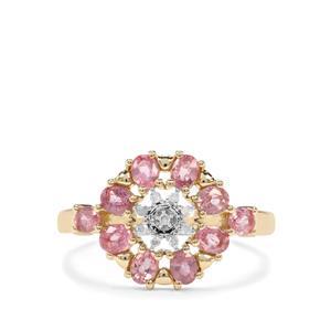 Padparadscha Sapphire & Diamond 10K Gold Ring ATGW 1.18cts