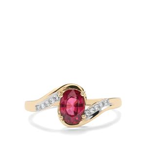 Comeria Garnet Ring with Zircon in 10k Gold 1.20cts
