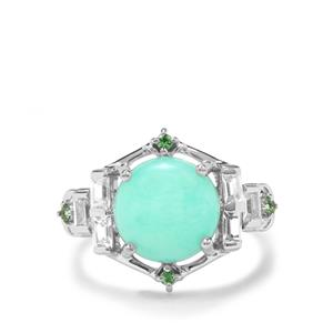 Prase Green Opal, Tsavorite Garnet & White Zircon Sterling Silver Ring ATGW 4.32cts