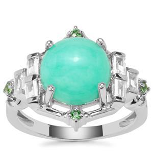 Prase Green Opal, Tsavorite Garnet Ring with White Zircon in Sterling Silver 4.32cts