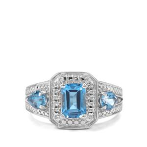 2ct Swiss Blue Topaz Sterling Silver Ring