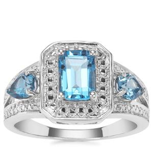 Swiss Blue Topaz Ring in Sterling Silver 2cts