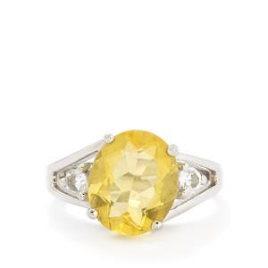 Golden Fluorite & White Topaz Sterling Silver Ring ATGW 6.00cts