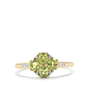 Ambanja Demantoid Garnet & Diamond 10K Gold Ring ATGW 1.07cts