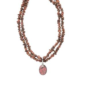 Rhodonite Pendant Necklace in Platinum Plated Sterling Silver 369.92cts