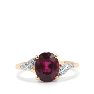 Comeria Garnet Ring with Diamond in 18K Gold 3.17cts