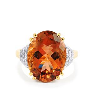 Oregon Sunstone & Diamond 18K Gold Lorique Ring MTGW 7.25cts
