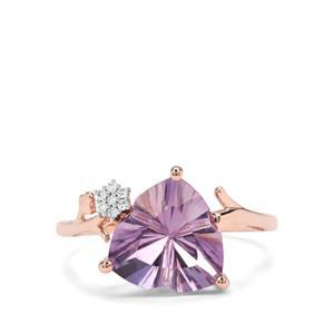 Lehrer Infinity Cut Rose De France Amethyst & Diamond 9K Rose Gold Ring ATGW 3.07cts