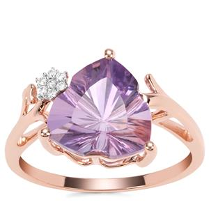 Lehrer Infinity Cut Rose De France Amethyst Ring with Diamond in 9K Rose Gold 3.07cts