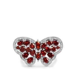 Octavian Garnet & White Zircon Sterling Silver Butterfly Ring ATGW 4.11cts