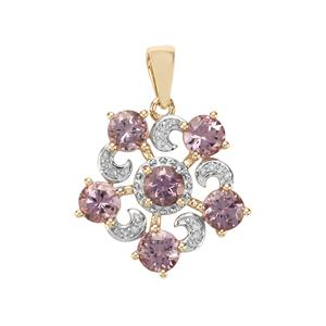 Mahenge Purple Spinel Pendant with Diamond in 9K Gold 2.33cts