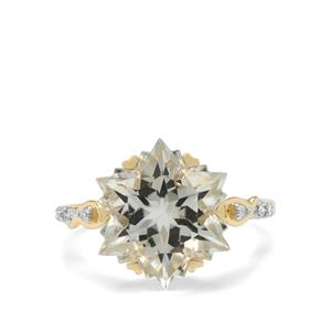 Wobito Snowflake Cut Prasiolite Ring with Diamond in 9K Gold 7cts