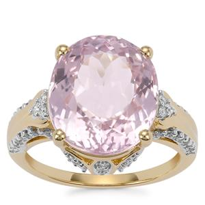 Mawi Kunzite Ring with Diamond in 18K Gold 10.04cts