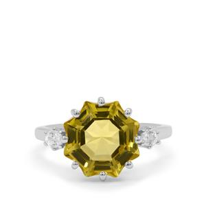 Mirror of Paradise Cut Lemon Quartz Ring with White Zircon in Sterling Silver 4.95cts