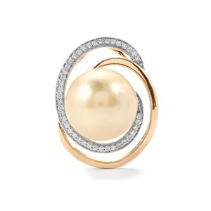 South Sea Cultured Pearl Pendant with Diamond in 18K Gold (14.50mm)