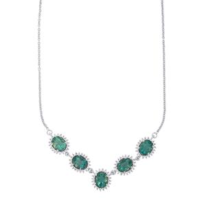 Tucson Green Fluorite Necklace with White Topaz in Sterling Silver 17.53cts