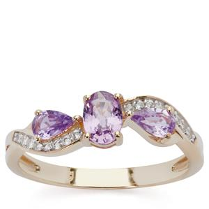 Natural Purple Sapphire Ring with White Zircon in 9K Gold 1.11cts