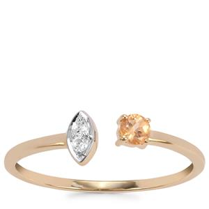 Ceylon Imperial Garnet Ring with White Zircon in 10K Gold 0.17cts