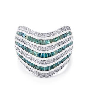 Blue Diamond Ring with White Diamond in 10k White Gold 1.95ct
