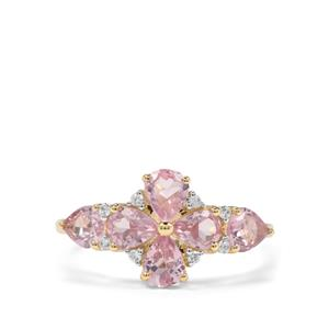 Pink Spinel & White Zircon 9K Gold Ring ATGW 1.88cts