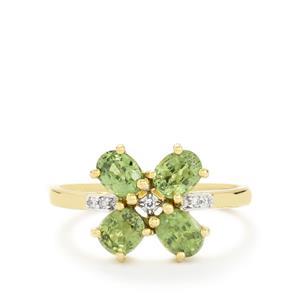 Ambanja Demantoid Garnet Ring with Diamond in 14k Gold 1.92cts