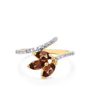 Bekily Colour Change Garnet & White Zircon 9K Gold Ring ATGW 1cts