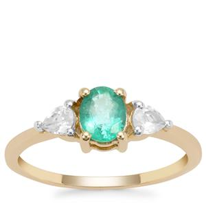 Zambian Emerald Ring with White Zircon in 9K Gold 1.10cts