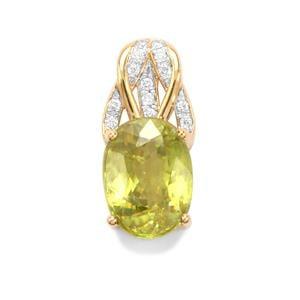 Ambilobe Sphene & Diamond 18K Gold Tomas Rae Pendant MTGW 3.62cts