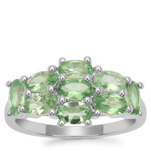 Tsavorite Garnet Ring in Sterling Silver 2.28cts