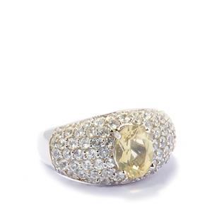 Golden Labradorite & White Zircon Sterling Silver Ring ATGW 3.45cts