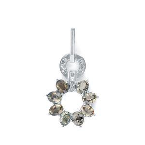 Tunduru Colour Change Sapphire & White Topaz Sterling Silver Pendant ATGW 1.92cts