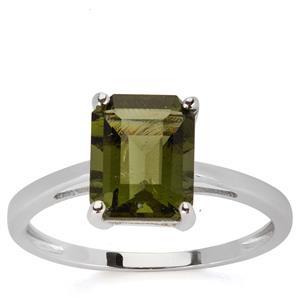 Moldavite Ring in 9K White Gold 1.83cts